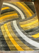 Rugs Approx 8x6ft 180x240CM Carved Top Quality Grey-Yellow New Designs XXLARGE